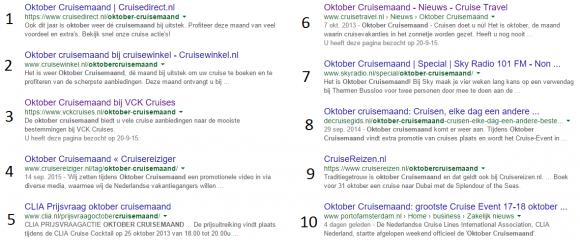 Blog Cruisemaand part II - Google results