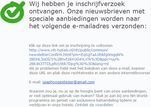 dubbele opt-in nh hotels
