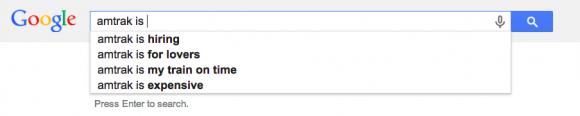 google automatisch aanvullen amtrak