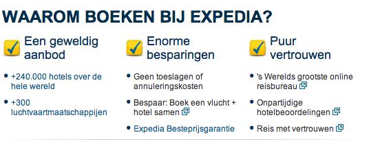 De USP's van Expedia, geformuleerd als voordelen voor de klant