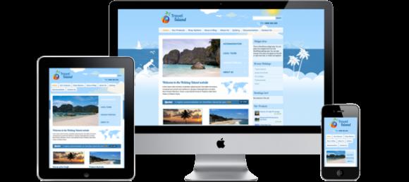 Voorbeeld van Travel Island, een responsive ecommerce theme
