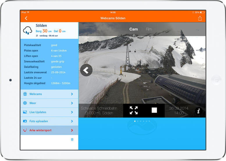 sneeuwhoogte arke app - webcam