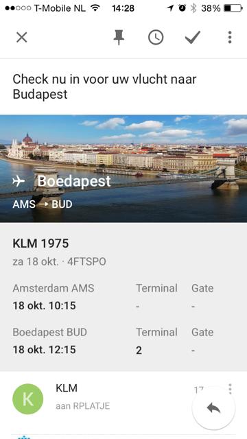 Google Inbox KLM Informatie