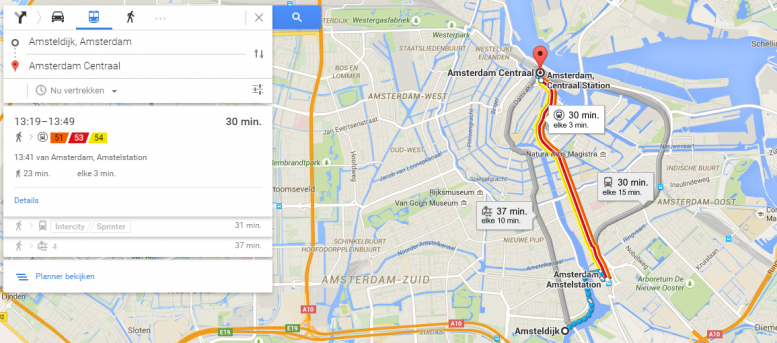 Google introduceert actuele OV informatie in Google Maps & Now voor Nederland