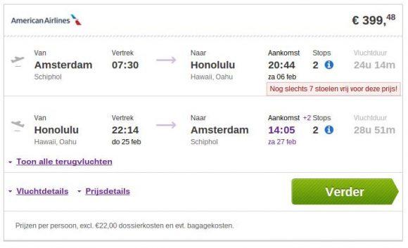 Amsterdam - Hawaii error fare