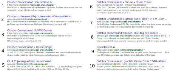 Blog Cruisemaand part II - Google results
