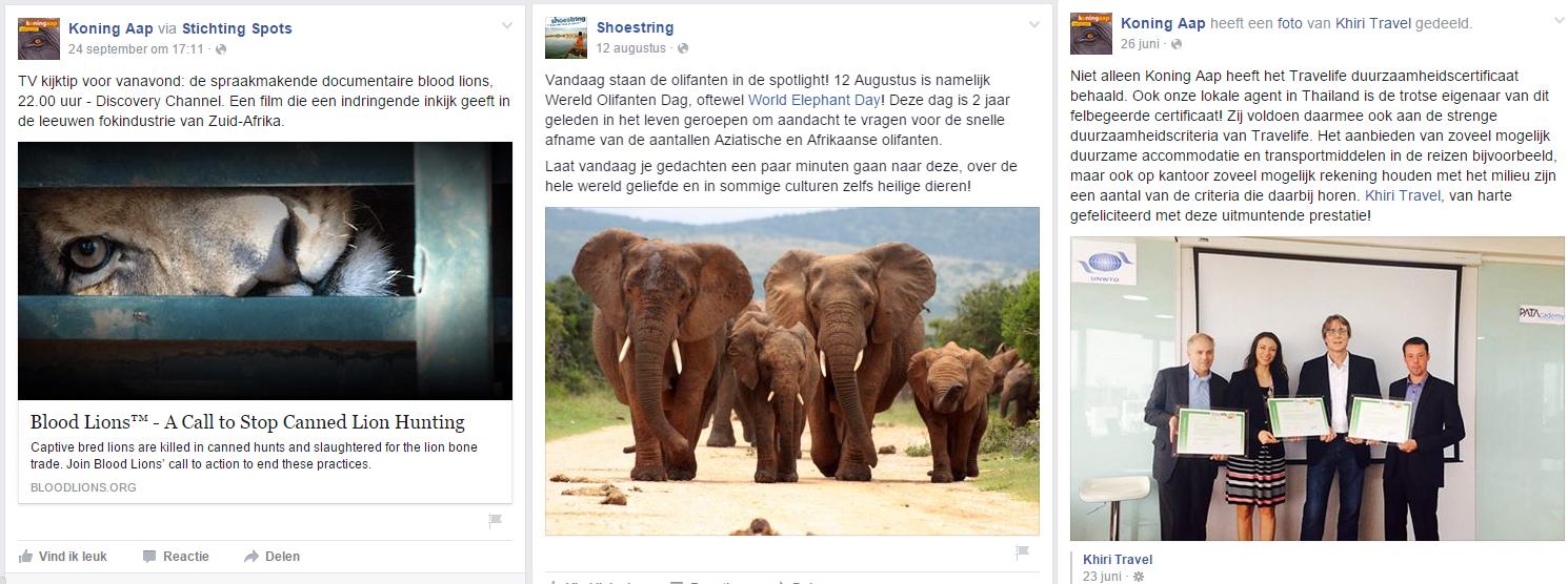 Blog Duurzaamheid - Facebook Koning Aap en Shoestring