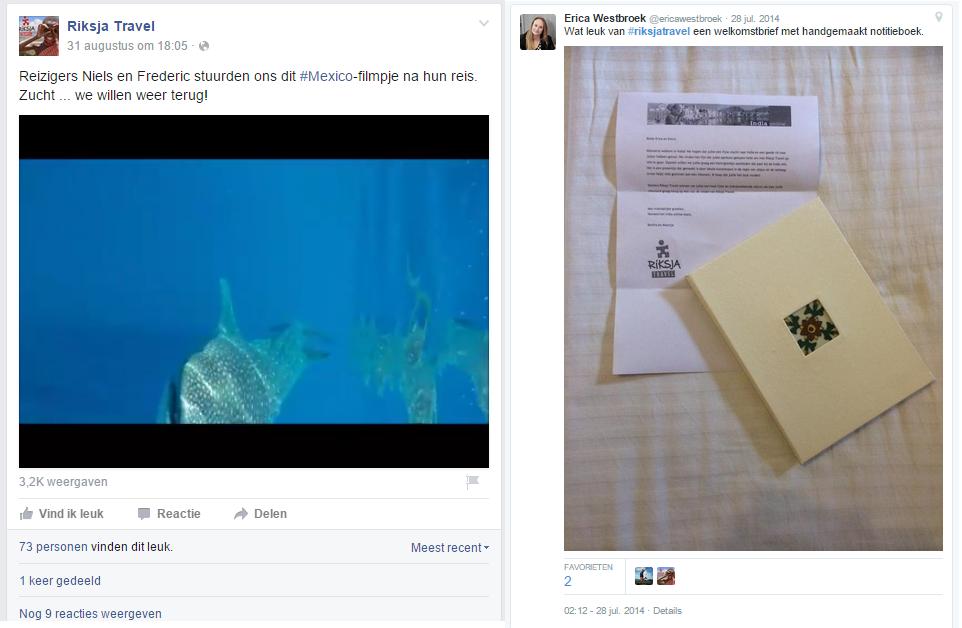 Blog Riksja Travel - FB en Tweet