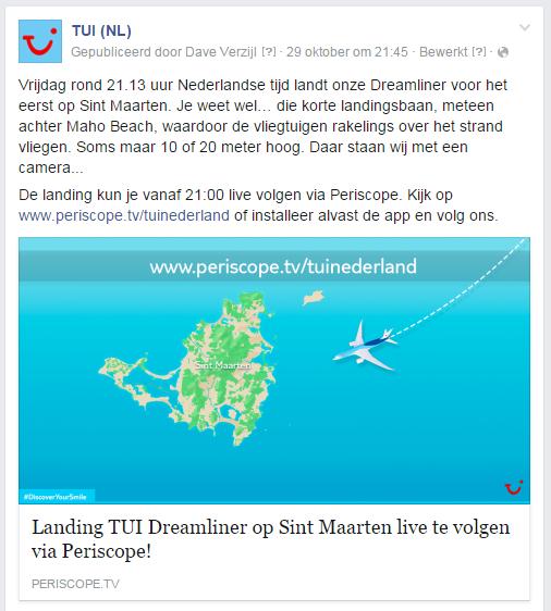 Aankondiging Periscope broadcast TUI Dreamliner landing op Sint Maarten