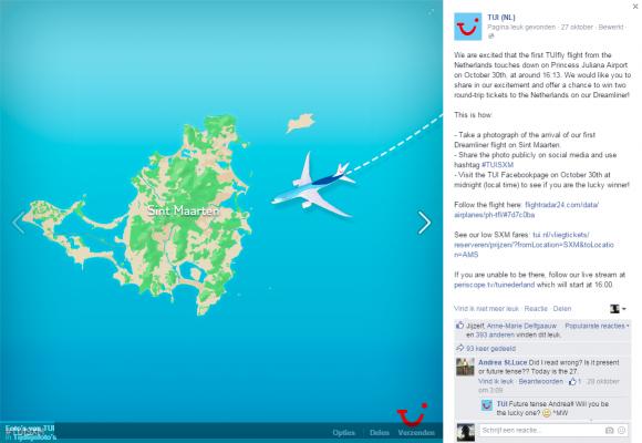 Promotie eerste TUI Dreamliner vlucht richting eilanders