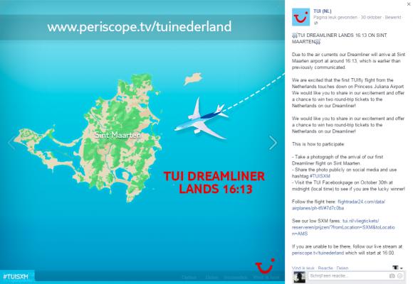 Aankondiging aankomst TUI Dreamliner met lokale tijd