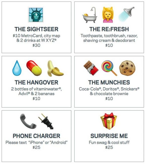 Emoji menu aloft hotels
