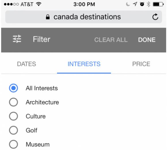 filter op interesses Google Kiddo - TravelNext