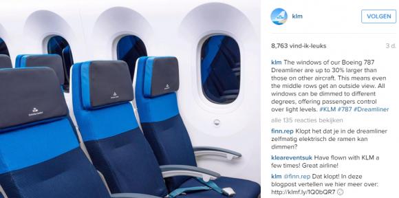 KLM vraag en antwoord Instagram