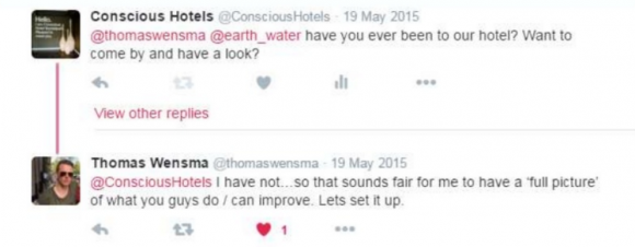 conscious hotels ambassadeur tweets