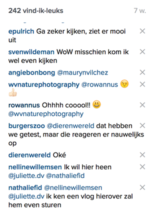 reacties instagram strategie Burgers Zoo
