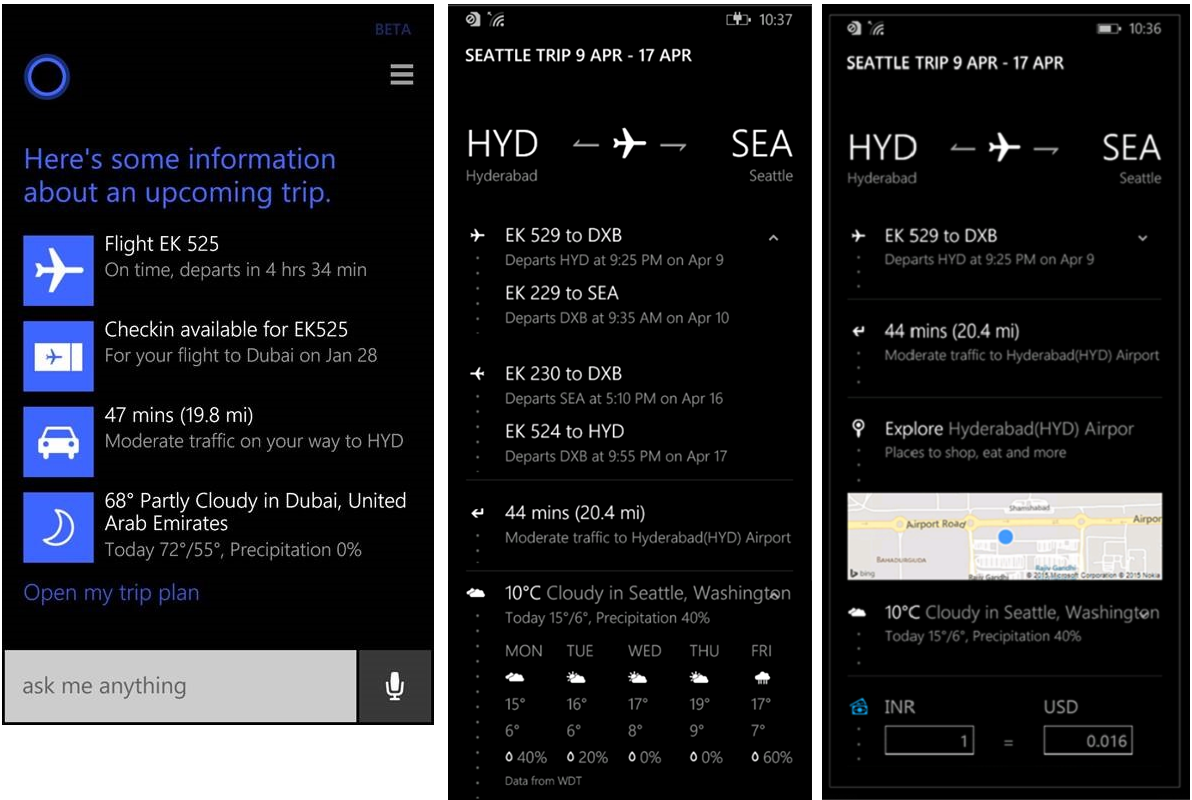Artificial intelligence in travel - cortana