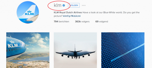 KLM verified on Instagram
