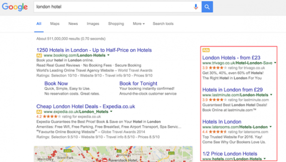 london hotel Google adveritising voor de veranderingen