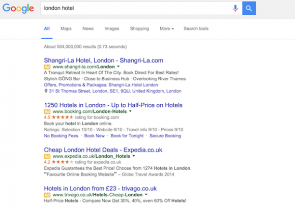 london hotel Google advertising na de veranderingen
