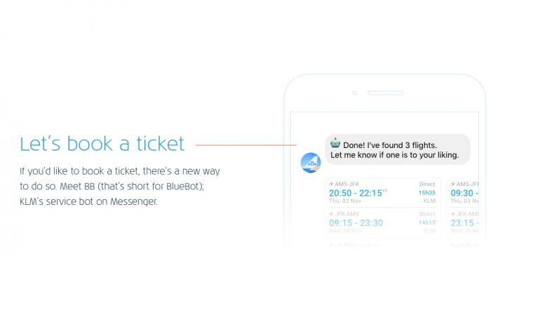 KLM-klanten kunnen ticket boeken via servicebot