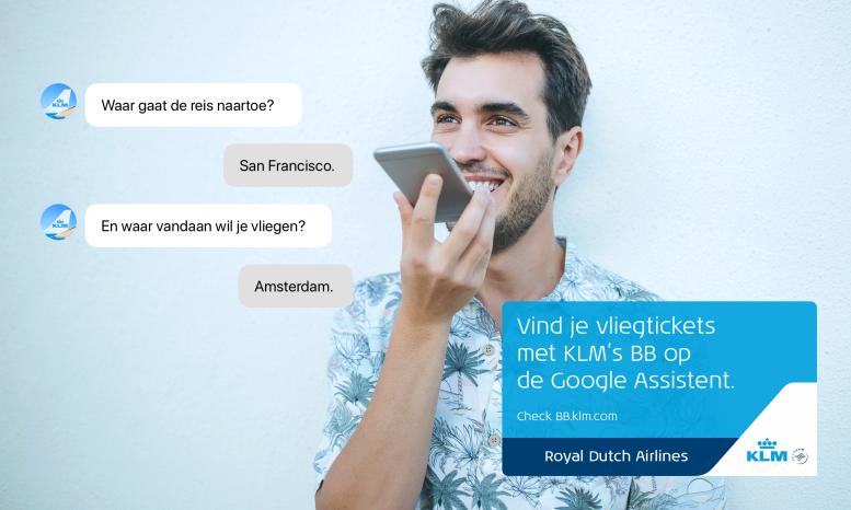 KLM lanceert Nederlandse service voor de Google Assistent